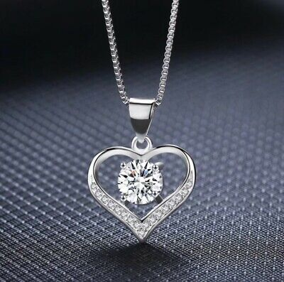 £3.59 • Buy Heart Crystal Pendant 925 Sterling Silver Chain Necklace Womens Ladies Jewellery