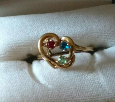 $55 • Buy Stylized Heart Mother's Ring10k Gold Red Blue Green Stones 5.5  5 1/2
