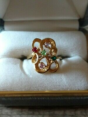 $75 • Buy Mother's  Grandmother's Ring10k Gold Five Stones Size 5.5  5 1/2