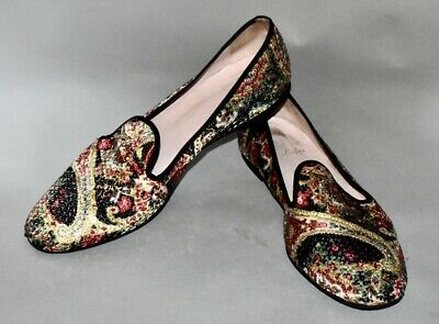 $64.99 • Buy Pretty Ballerinas Loafers Flats Multi Floral Printed Sequined Shoes Size 40 US 9