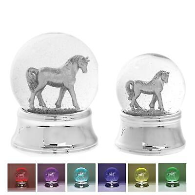 Silver Unicorn LED Glitter Glass Water Snow Globe Colour Changing Ornament • 11.75£