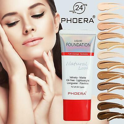 PHOERA Matte Liquid Skin Foundation Full Coverage Long Lasting Light Face Makeup • 4.25£