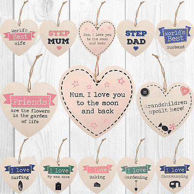 Wooden Heart Shabby Chic Hanging Wall Plaques Friendship Relationship Door Signs • 2.99£