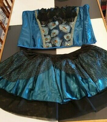 New Stunning Peacock Burlesque Moulin Showgirl Corset Skirt Set With Feathers • 24.99£