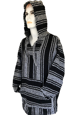 Hoodie Mexican Baja Jerga Drug Rug Jumper Festival Surf Hippie Black  Colours • 19.99£