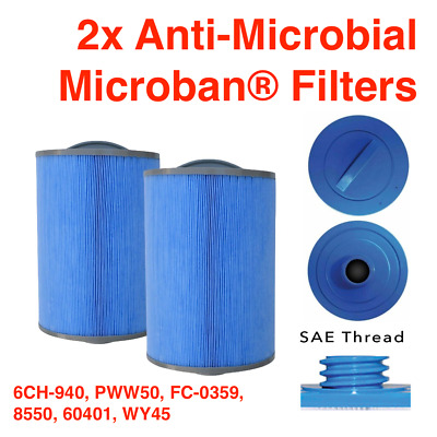 2x FILTER 50ft² Microban Anti-Microbial HOT TUB FILTER 6CH-940 PWW50 FC-0359 • 39.99£