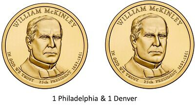 $7.77 • Buy 2013-P & 2013-D William McKinley Presidential Dollar Uncirc Coins From Mint Roll