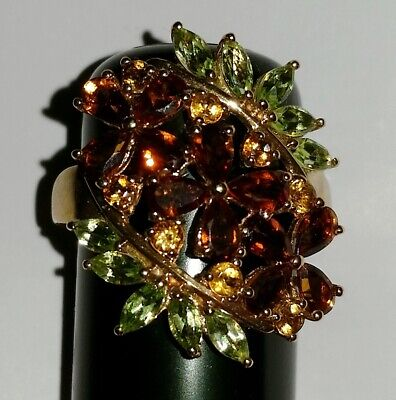 £248.44 • Buy 3.42ct Madeira Citrine, Citrine And Peridot 10K Gold Victorian Floral Ring Sz 11