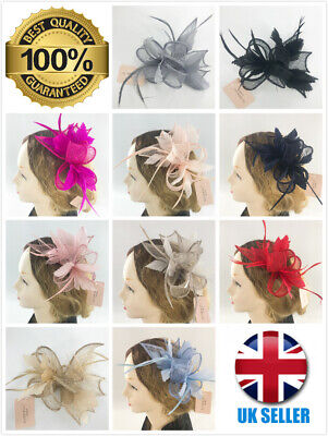 Ladies Feather Hair Clip Fascinator Wedding Royal Ascot Races High Quality • 10.99£