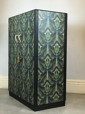 Vintage Hand Painted & Decoupaged GPlan Retro Wardrobes In Designer Wallpapers. • 299£