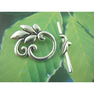 £3.50 • Buy 10 Leaves Antique Silver Toggle Sets Clasps Jewellery 24mm X 19mm (F400I)
