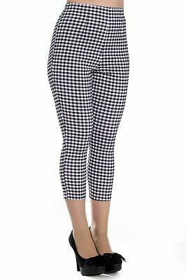 Hell Bunny Judy Checked Capri Trousers 50's Style • 22.99£