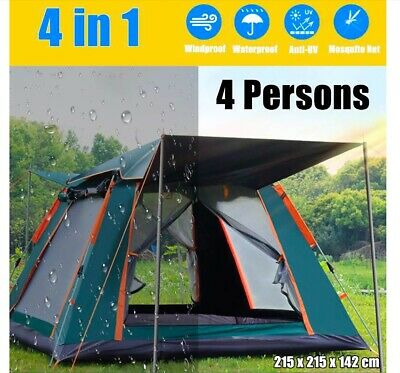 AU274.99 • Buy 4 Man Person Family Cabin Tent Automatic Pop Up Quick Camping Shelter Car Bush