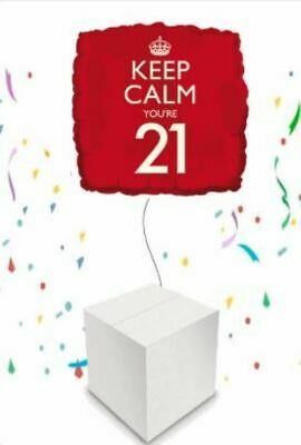 Keep Calm You're 21 21st Helium Inflated Foil Balloon In A Box • 15.99£