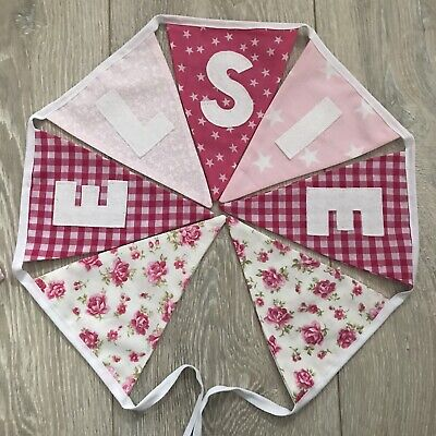 £1.80 • Buy PERSONALISED Fabric BUNTING  BIRTHDAY Baby GIRL Pink Floral £1.80 Per Letter