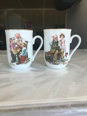 $ CDN19.80 • Buy Set Of 2 Vintage 1982 Norman Rockwell Coffee Mugs Cups Cobbler Toymaker