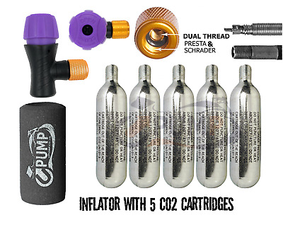 £14.69 • Buy Bike CO2 Pump Cycle Tyre Tube Dual Inflator Presta Schrader 5x16g Gas Cylinders
