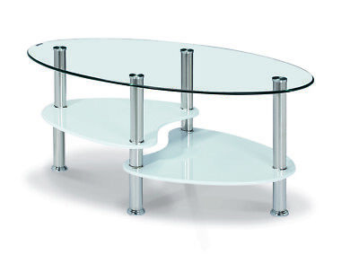 Coffee Table Clear Glass Oval Top Gloss White Black Natural Shelf Chrome Legs • 60.39£