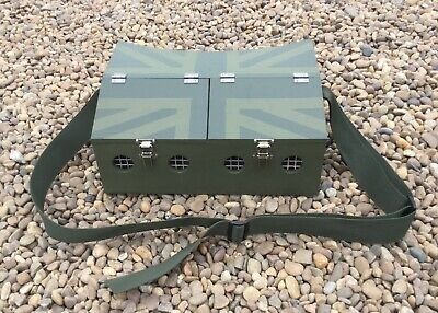 Large Double Bow Back Ferret Carry Box 2 Compartment Ferreting Rabbiting Hunting • 48£