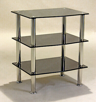 Display Stand TV Stand DVD Hi-Fi Game Console Unit Three Shelf Black Glass • 65.88£