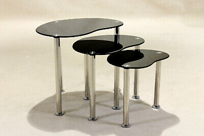 Nest Of Tables Black Glass Three Piece Set Lamp Side End Coffee Table Tube Legs • 51.99£