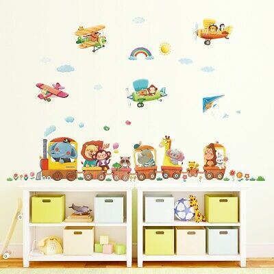 DECOWALL Animal Train & Biplanes Wall Stickers (XLarge) DL-1406AL1901 • 27.95£