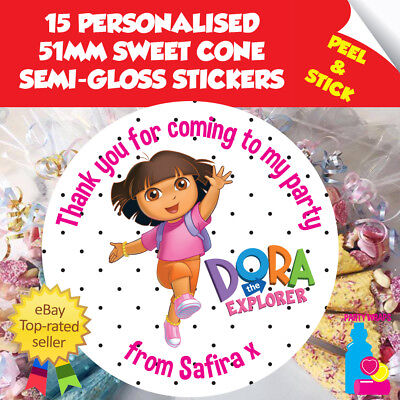 15 Personalised Dora The Explorer Birthday Party Sweet Cone Thank You Seals • 2.10£