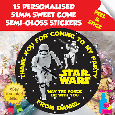 £2.10 • Buy 15 Personalised Star Wars Stormtrooper Birthday Thank You Sweet Cone Stickers