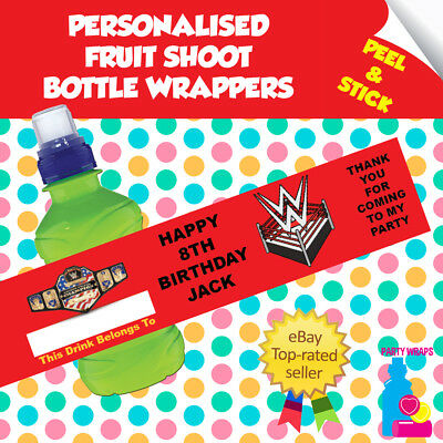 7 Personalised WWE Birthday Party Self Adhesive Fruit Shoot Wrappers  • 2.10£