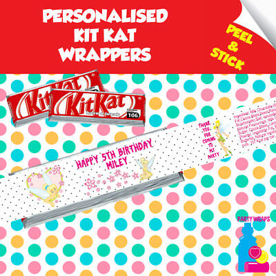£2.10 • Buy 7 Personalised Tinkerbell Kitkat Birthday Party Favour Self Adhesive Wrappers
