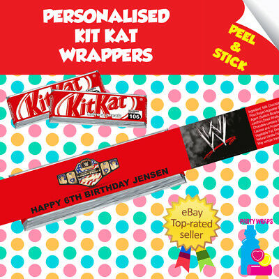 7 Personalised WWE Wrestling Kitkat Birthday Party Self Adhesive Wrappers • 2.10£