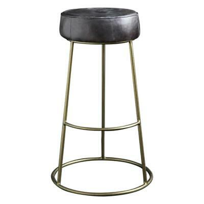 £180.90 • Buy Bar Stool Round Leather Black Seat With Brass Finished Footrest 75 Cm Wenlock