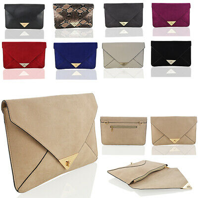 £8.99 • Buy Womens Clutch Evening Faux Leather Ladies Envelope Wedding Party Prom Bag UK