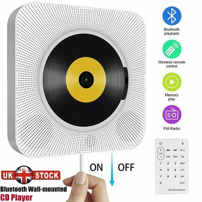 CD Player FM Radio Wall Mounted Bluetooth Music MP3 Remote Control Stereo White • 36.89£