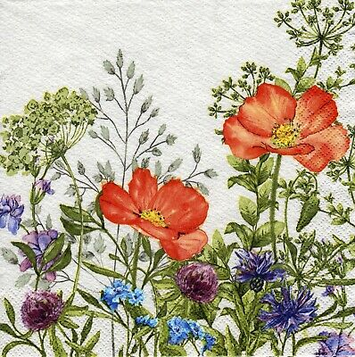 4x Decoupage PAPER NAPKINS MEADOW IN JUNE FLOWERS FLORAL    • 1.24£