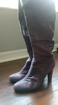 $45 • Buy Na Na Textured Purple Leather Pull On Fold Over Knee High Boots Detail Sz 7.5