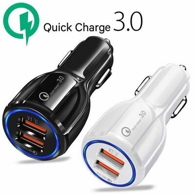 $ CDN5.32 • Buy Dual Car Charger Adapter 2 USB QC3.0 36W Fast Quick Charging Certified Universal