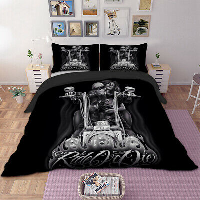 Skull Rider Duvet Cover With Pillow Cases Bedding Set Single Double King Sizes • 23.99£