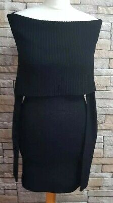 WOMEN'S BLACK H&M OFF THE SHOULDER KNITTED DRESS SIZE XS  8 Ref 14 • 9.95£