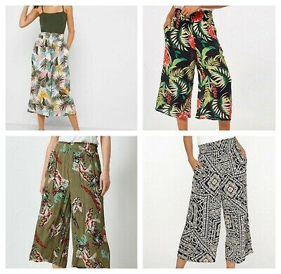 Dorothy Perkins DP Floral Khaki Black Navy Wide Leg Pocket Culotte Crop Trousers • 11.01£