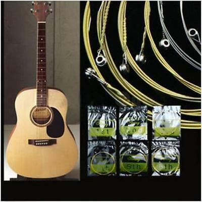 $ CDN3.62 • Buy 6pcs Guitar Strings Gold Silver Acoustic Metal Steel Set Replacement New 6A