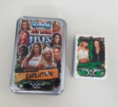 WWE Slam Attax Live Women's Evolution Large Tin & 48 Mixed Diva Trading Cards  • 3.50£