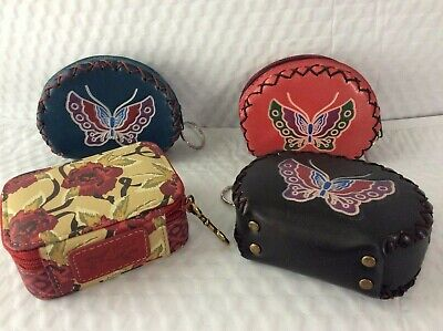 $10 • Buy Tri Color Leather Zip Around Butterfly Coin Purses And Pill Bottle Organizer Set