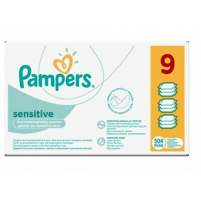 Pampers Baby Wipes Sensitive  9 Pack (9 X 56's) • 19.99£