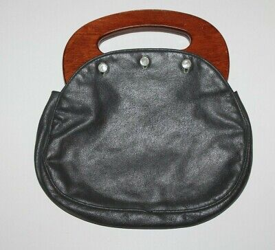 $18.70 • Buy Vintage Bermuda Bag Wood Handle Purse Gray Faux Leather Cover 3 Button 1980's
