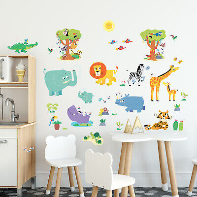 £14.95 • Buy DecowallHappy Jungle Animals Nursery Kids Removable Wall Stickers Decal DW-1909