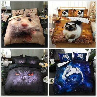 Duvet Cover With Pillow Cases 3D Animal Photo Print Design Bedding Set All Sizes • 23.99£