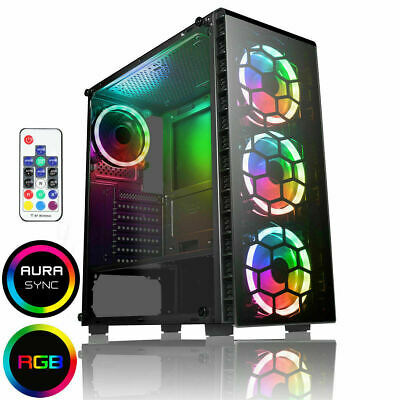 111CiT Raider Gaming PC Case 4x Halo Spectrum RGB LED Fans Tempered Glass Panels • 58.99£