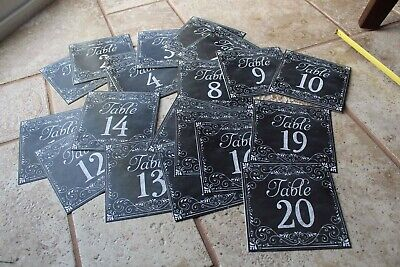 £4.24 • Buy Set Of # 1-20 Chalkboard-look Paper Table Tent Numbers Cards 5  Square