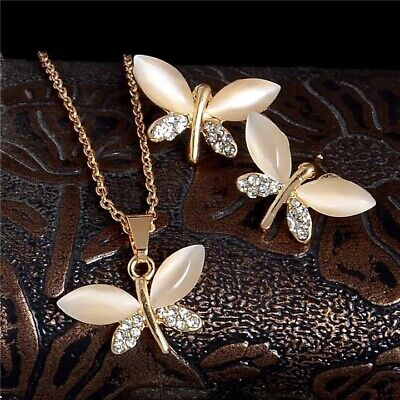 £2.99 • Buy Crystal Pendant Necklace Butterfly Gold Stud Earrings Womens Jewellery Gift